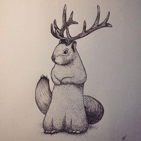 Frightening grey-ink squirrel with huge deer horns tattoo design