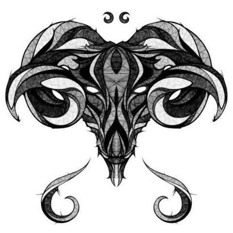 Frightening patterned ram head with demon eyes tattoo design
