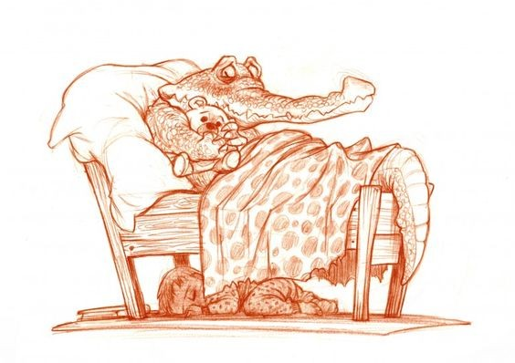 Frightening reptile with toy lying in baby bed tattoo design