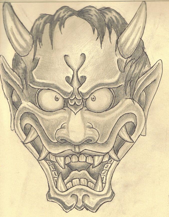 Frisky pencilwork devil face in japanese style tattoo design