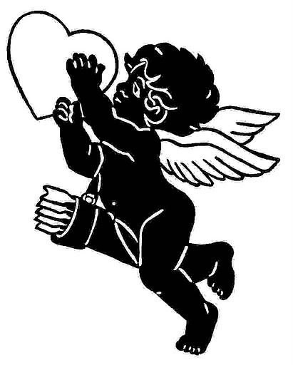 Full-black cherub angel with an empty heart tattoo design