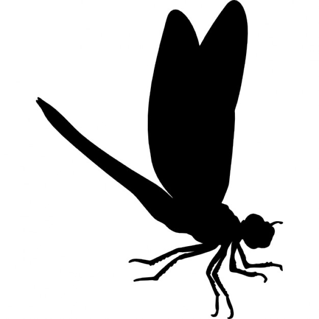 Full-black flying dragonfly tattoo design