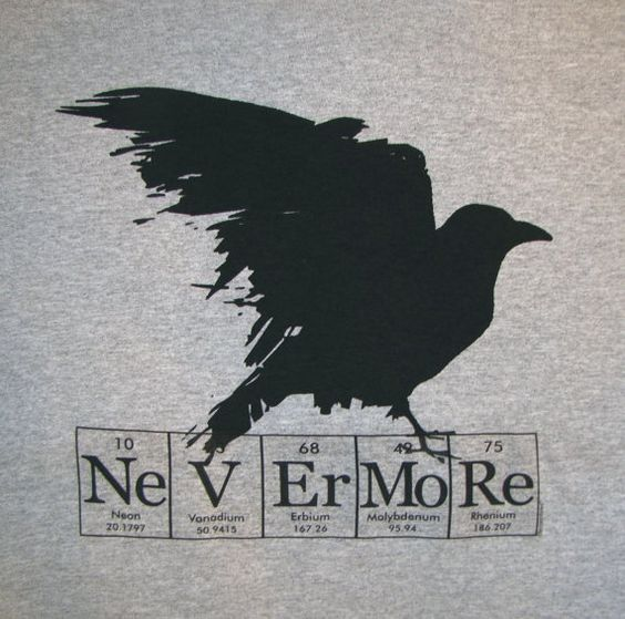 Full-black raven and tabled chemistry elements tattoo design
