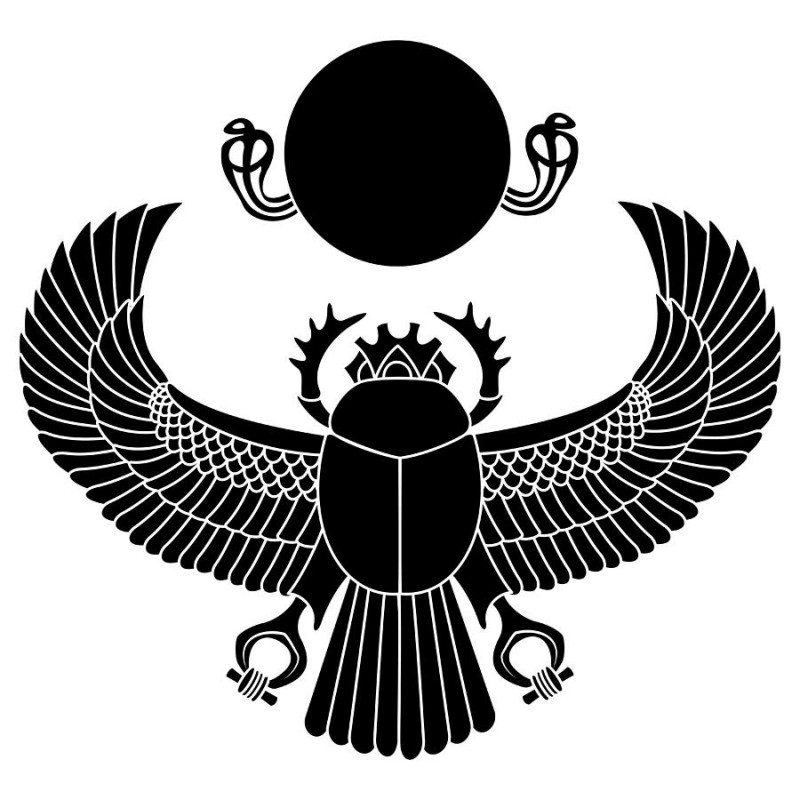 Full-black scarab bug with huge wings and round sun with snakes tattoo design