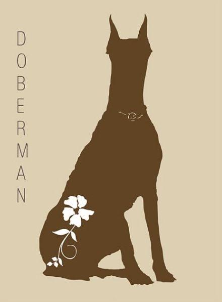 Full-brown doberman with white flower print tattoo design