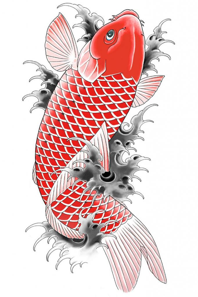 Full red koi fish splashing in grey waves tattoo design for Grey koi fish