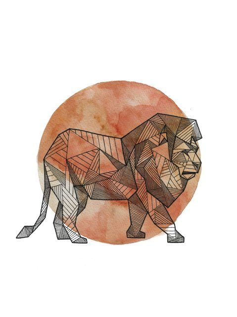 Full-size geometric lion on full red moon background tattoo design