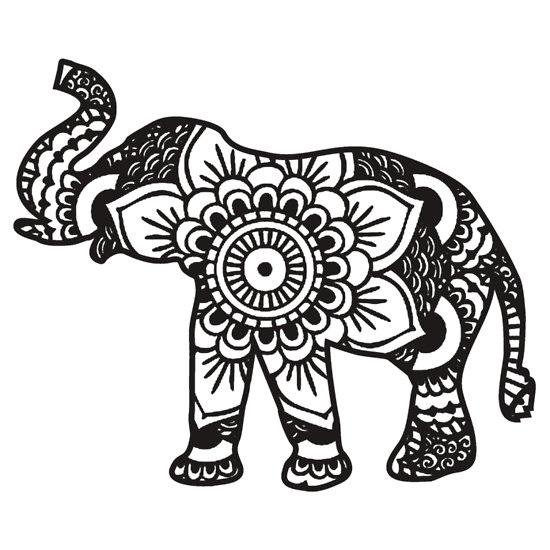 full-size indian mandala elephant tattoo design - tattooimages.biz - Coloring Page Elephant Design