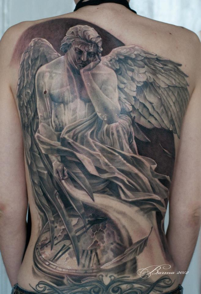 Full back tattoo with sad angel and clock