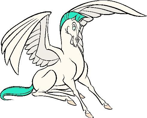 Funny animated pegasus with bright blue mane and tail tattoo design