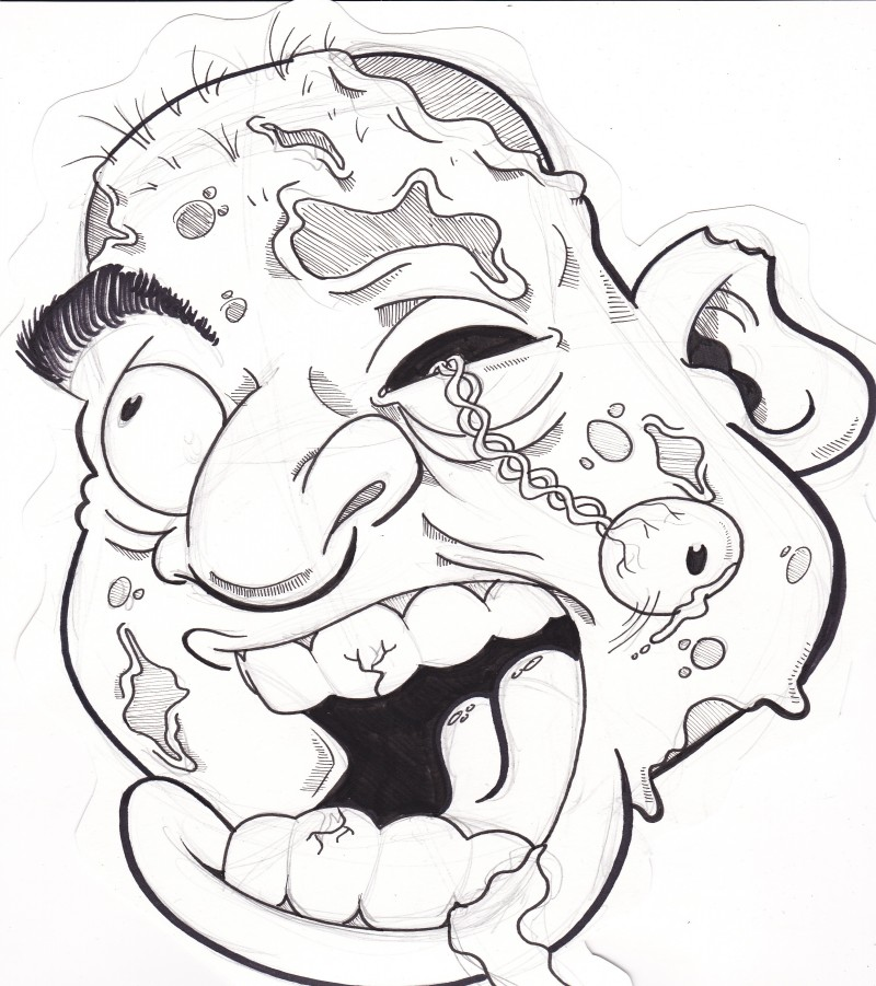 Funny animated zombie head with hanging eye tattoo design