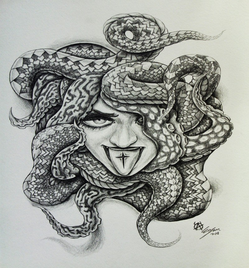 Funny black-and-white medusa gorgona with cross sign on tongue tattoo design by Eason41