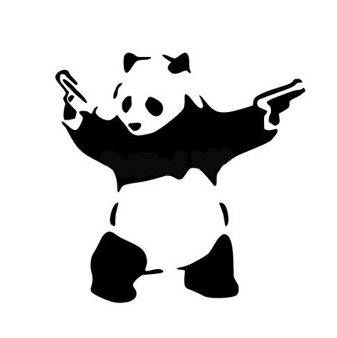 Funny black-and-white panda with guns tattoo design