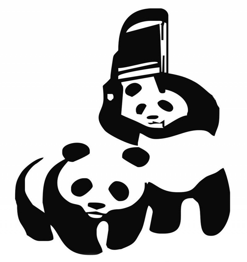 Funny black-and-white playing panda couple tattoo design