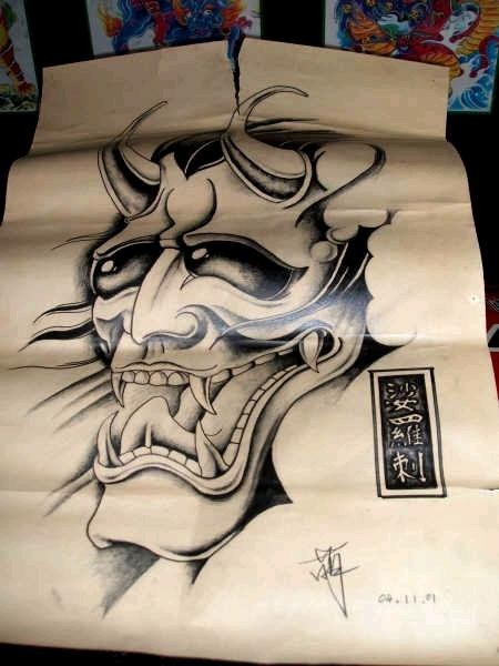 Funny black-ink japanese-style devil face tattoo design