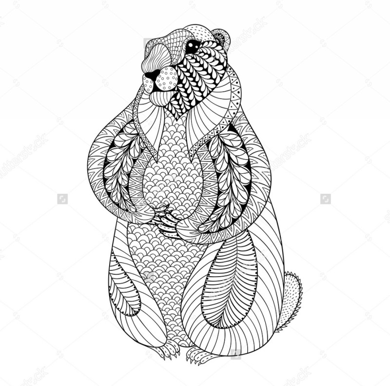 Funny black-ink patterned standing rodent tattoo design