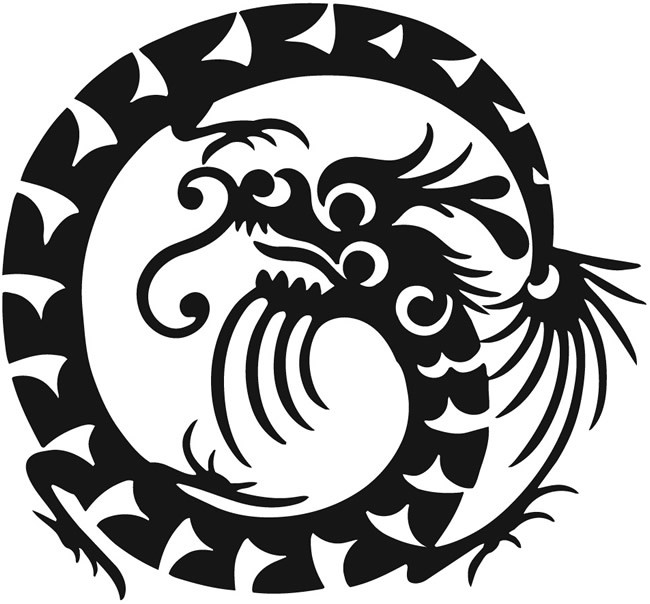 Funny black-ink printed dragon uroboros tattoo design