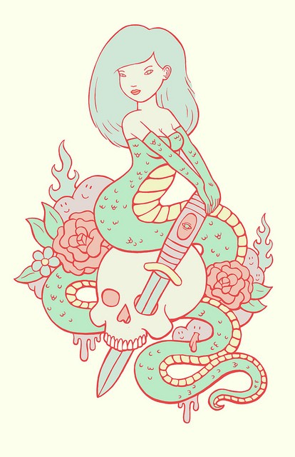 Funny cartoom snake mermaid with skull and flowers tattoo design
