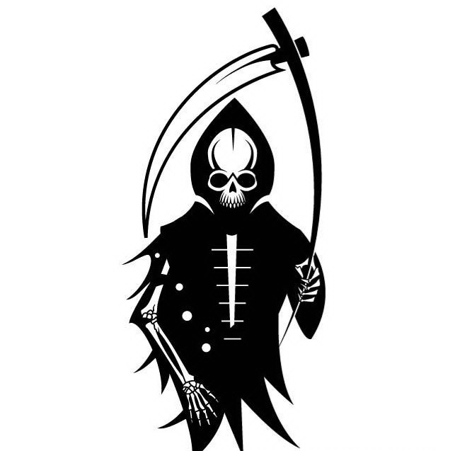 Funny cartoon black-and-white death with a bended scythe tattoo design