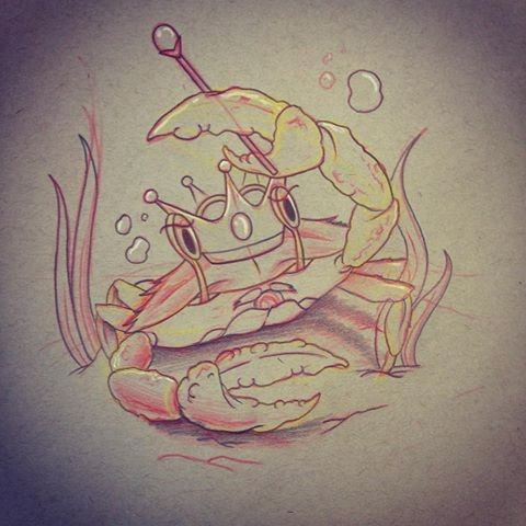 Funny cartoon crowned king crab with skepter tattoo design