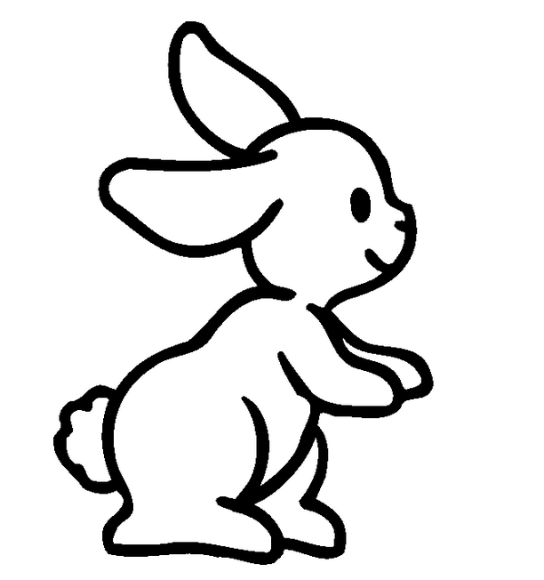 Funny cartoon outline rabbit with cute tail tattoo design