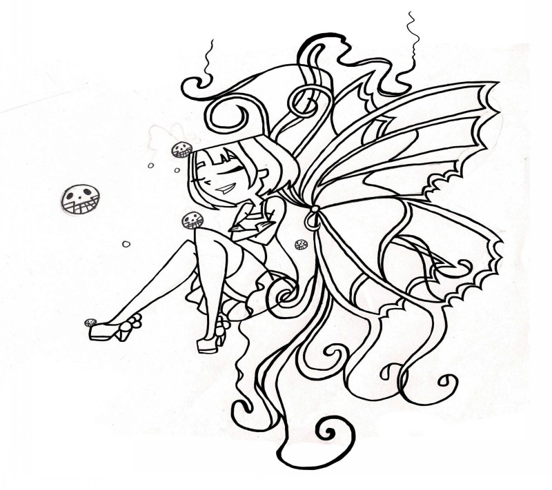 Funny cartoon outline sitting fairy with scary flying muzzles tattoo design