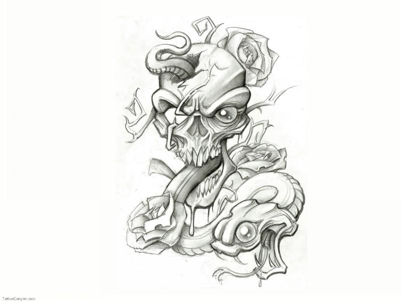 Funny cartoon snake looking from human skull tattoo design
