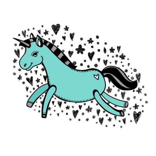 Funny cartoon turquoise running unicorn on heart and star background tattoo design