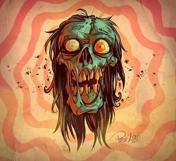 Funny cartoon zombie face with huge teeth tattoo design