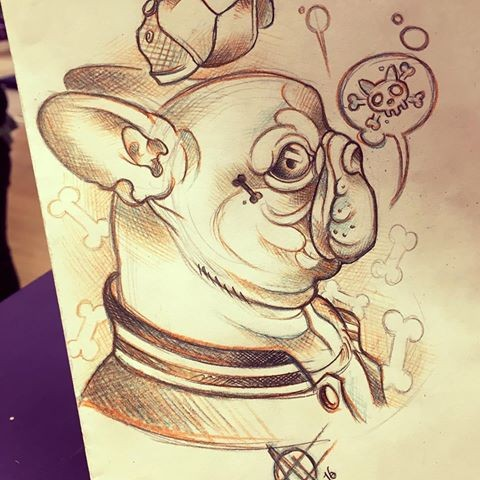 Funny clothed bulldog with death sign smoke tattoo design