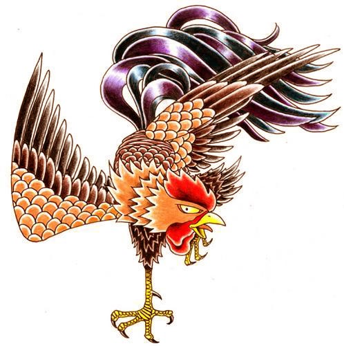 Funny colorful rooster standing on one leg tattoo design