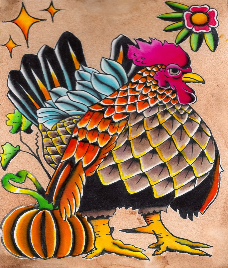 Funny colorful rooster with flowers and pumpkin decoration tattoo design