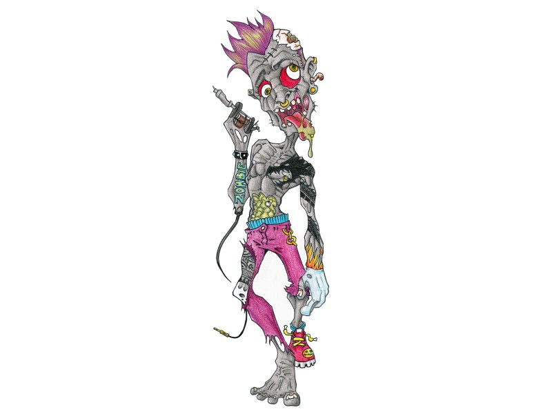 Funny colorful zombie punk boy tattoo design