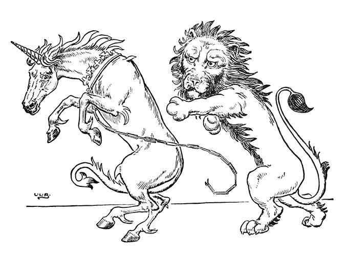 Funny colorless lion attacking crowned unicorn tattoo design