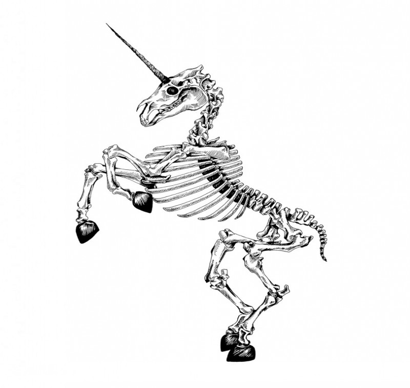 Funny dancing unicorn skeleton tattoo design