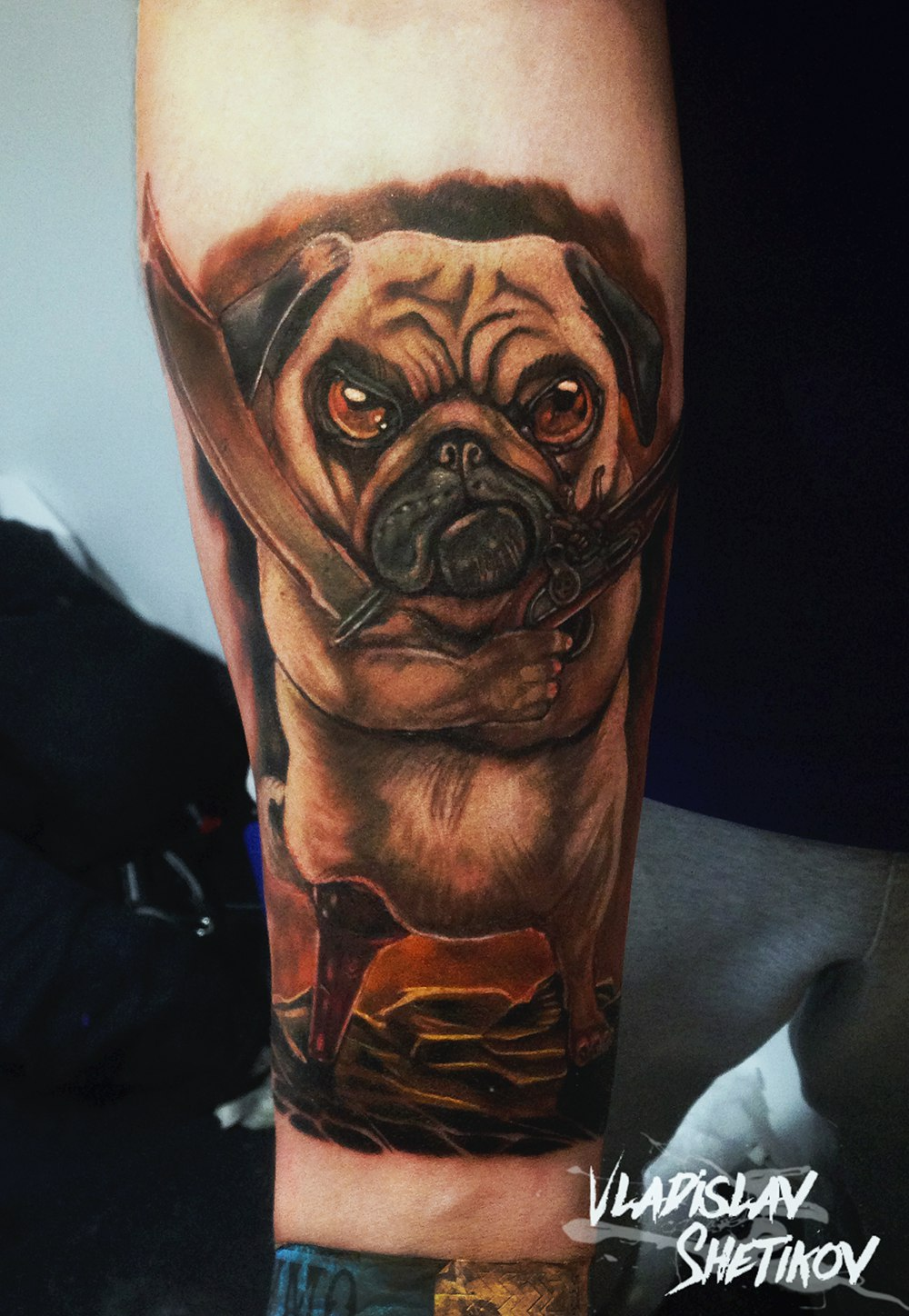 Funny dog with sword and gun tattoo
