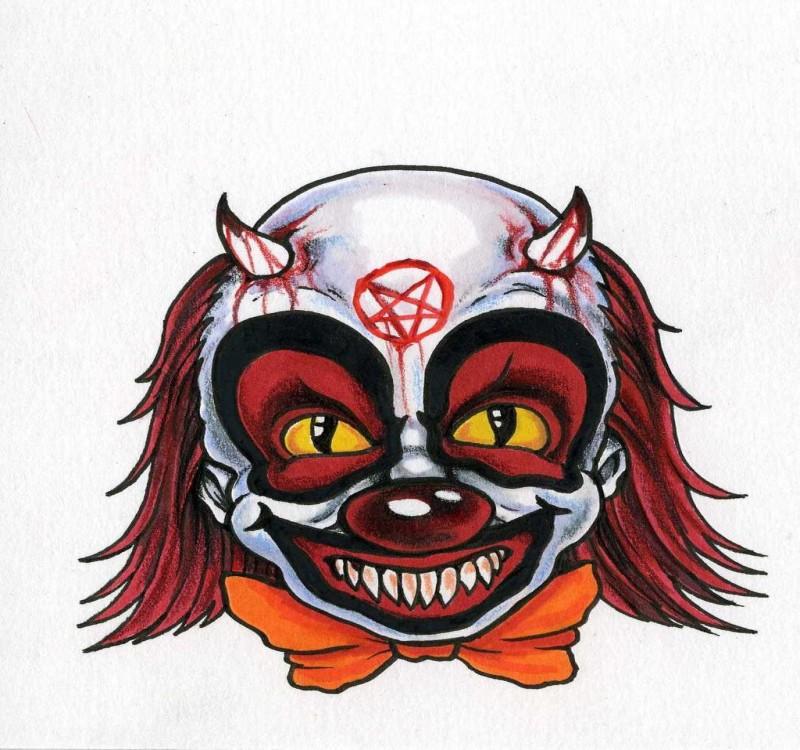 Funny evil colorful demon clawn portrait tattoo design