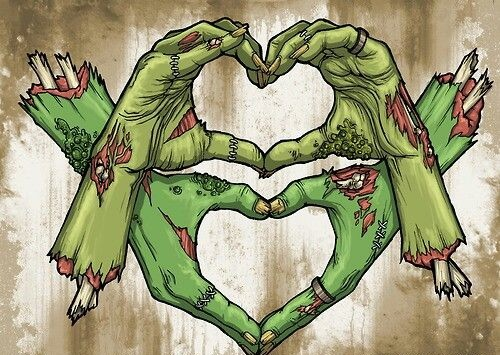 Funny green zombie hands showing hearts tattoo design