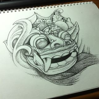 Funny grey-ink round demon head tattoo design
