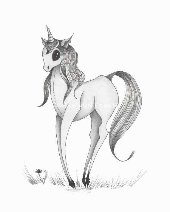 Funny grey cartoon unicorn tattoo design