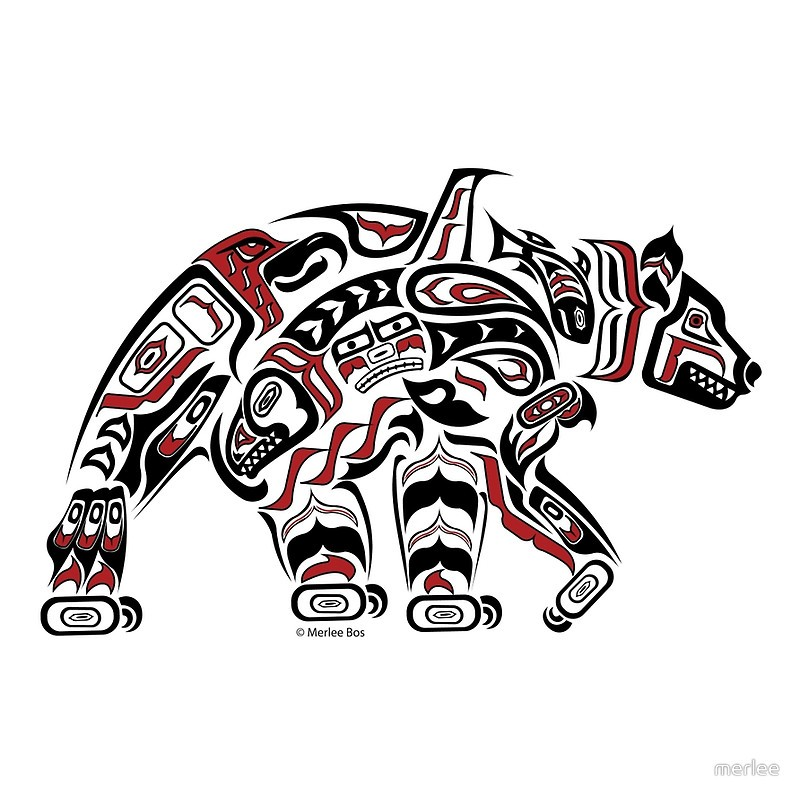 Funny maori grizzly bear tattoo design
