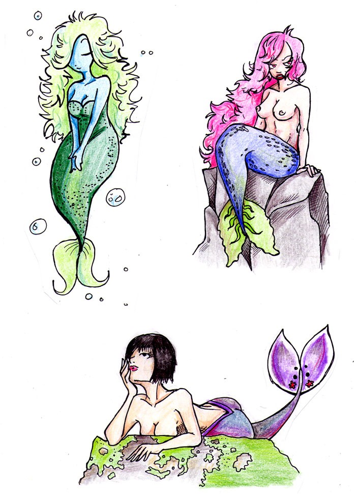 Funny multicolor mermaids in different poses tattoo design by Athamaarit