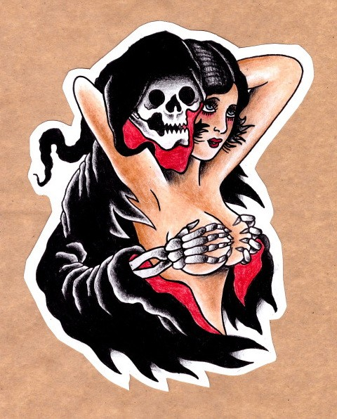 Funny old school death closing naked girls tits with his skeleton hands tattoo design