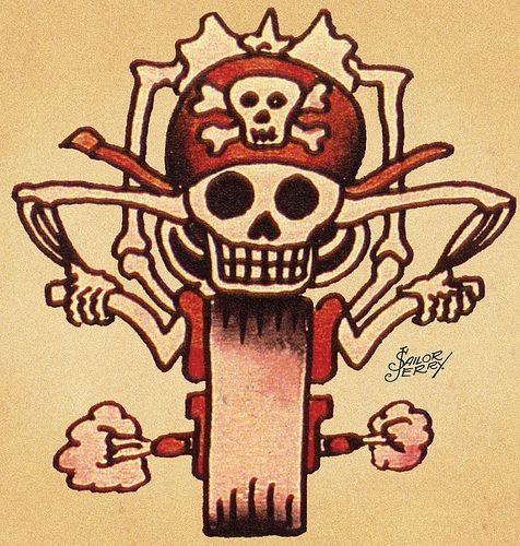 Funny old school death riding a bike tattoo design