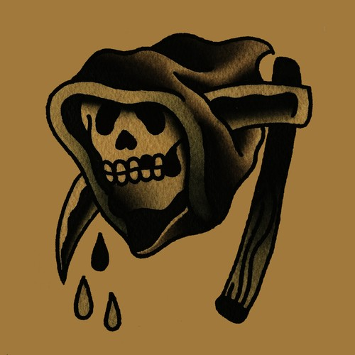 Funny old school death skull in a hood pierced with a scythe tattoo design