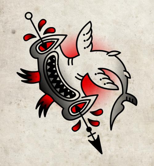 Funny old school hummer shark killed with arrow tattoo design