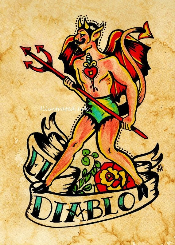 Funny old school male devil with a trident and a banner tattoo design