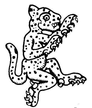 Funny outline aztec human-like jaguar tattoo design