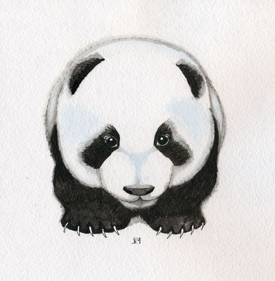 Funny panda baby walking forward tattoo design