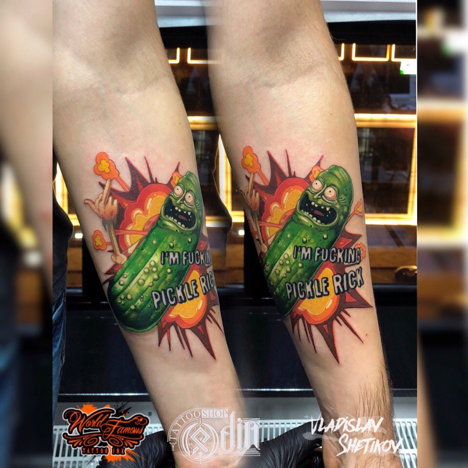 Funny pickle rick tattoo on forearm
